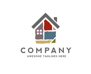 creative house made from colorful stone bricks logo vector