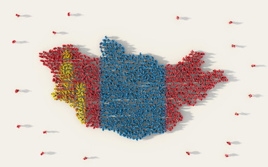 Large group of people forming Mongolia map and national flag in social media and community concept on white background. 3d sign symbol of crowd illustration from above gathered together