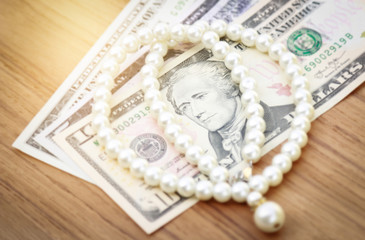 pearl on dollar money for business concept