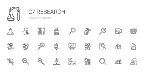research icons set