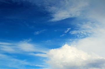white cloud and blue sky background.