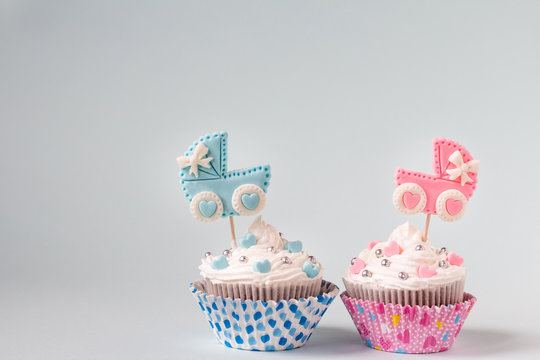 Baby shower cupcake for a girl and a boy. Twins newborn announcement. Text space
