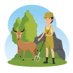 deer wild animal with safari man
