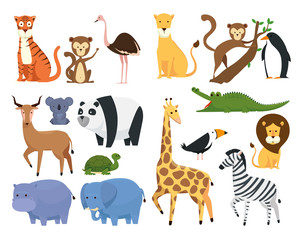 Printed kitchen splashbacks Illustrations set wild animals in the zoo safari reserve