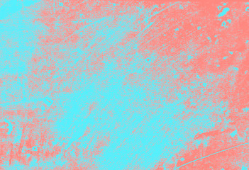 abstract coral pink and light blue paint  grunge brush texture background