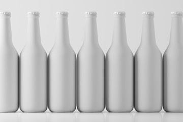 Lots of glass white frosted beverage bottles standing in a row on a light background with reflection. Mock up. 3d rendering