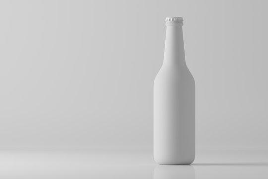 Matte white bottle on light background. Mock up. 3d rendering