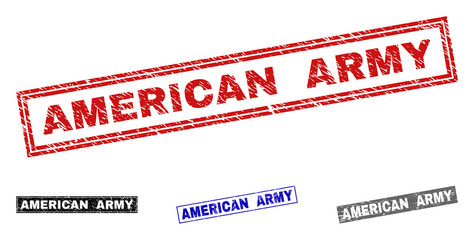 Grunge AMERICAN ARMY rectangle stamp seals isolated on a white background. Rectangular seals with grunge texture in red, blue, black and gray colors.