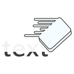 Icon eraser erasing text. Vector illustration on white background