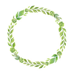Watercolor vector wreath with green branches and leaves isolated on white background.