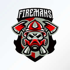 Colorful badge, logo, sticker, emblem skull fireman in gas mask and axes. Protection, rescue squad, uniform, bones, tools, fire, shield, lettering. T-shirt printing, vector illustration
