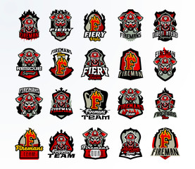 A large colorful collection of emblems, badges, stickers, a logo on the topic of firefighters. Fireman in a gas mask, skull, bones, axes, tools, rescue, shield, lettering, print. Vector illustration