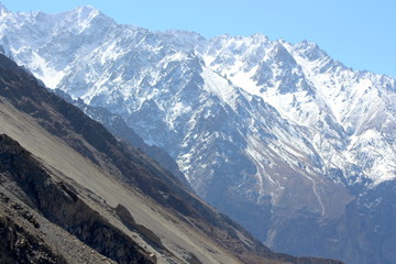 Spectacular mountain scenery. Snow Mountain with Blue Sky,