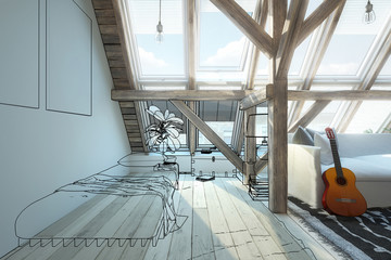 My place under the roof 05 (vision) - 3d illustration