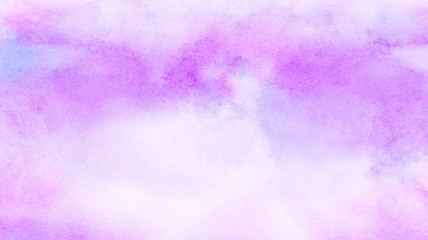 Abstract grunge violet gradient violet water color artistic brush paint splash background. Vintage light purple watercolor paint hand drawn illustration with paper grain texture for aquarelle design.