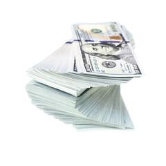 Stack of new design dollar bills