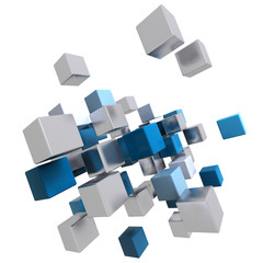 Flying blue and metallic cubes