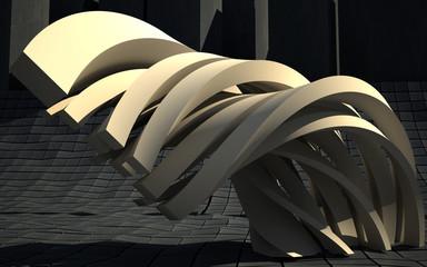 Golden curved sculpture