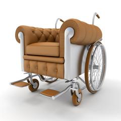 Leather club wheelchair