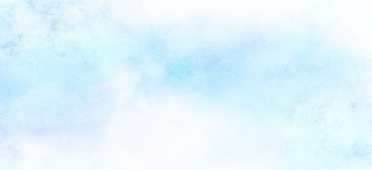 Fototapeta Light sky blue watercolor background. Aquarelle paint paper textured canvas element for text design, greeting card, template. Turquoise color handmade illustration obraz