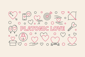 Platonic Love vector concept horizontal illustration in thin line style