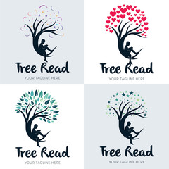 Collection of Kids Reading on Tree Logo Set Design Template Inspiration