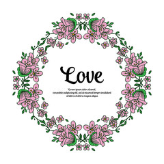 Vector illustration frame flower for gift beloved with lettering hand drawn