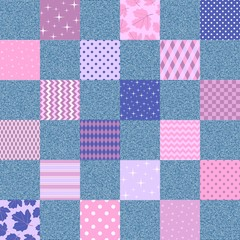 Seamless patchwork pattern from different ornamental patches and denim fabric.