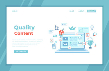 Quality content, content management, optimization, filtration, evaluation. Flat web page design template on the laptop screen, growing graphics, winner's cup, target, trash can. landing page, banner