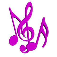 Musiknoten und Notenschlüssel vor weißem Hintergrund