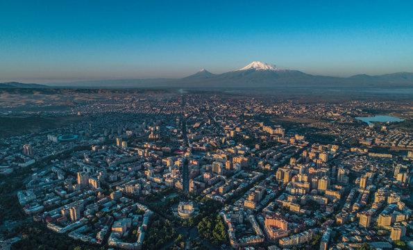 Drone shot of Yerevan