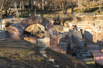 Sunset view of The ancient Thermal Baths of Diocletianopolis, town of Hisarya, Plovdiv Region, Bulgaria