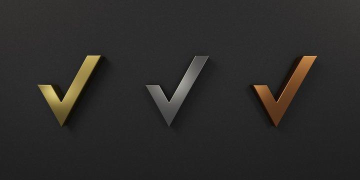 Check Marks Gold Silver Bronze. 3D Render Illustration