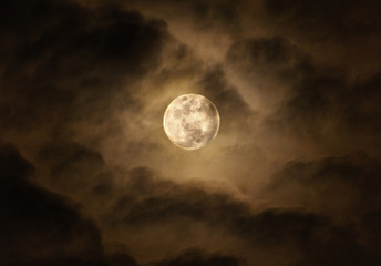 bright super moon at night sky with cloudy and copy space