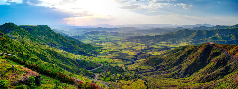Aerial Panorama of Semien mountains and valley around Lalibela, Ethiopia