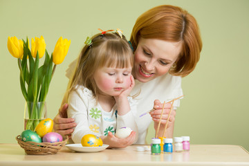 Mother and child daughter painting Easter eggs