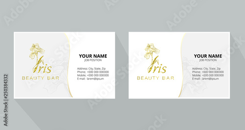 Iris flower logo in the style of engraving  Beauty logo