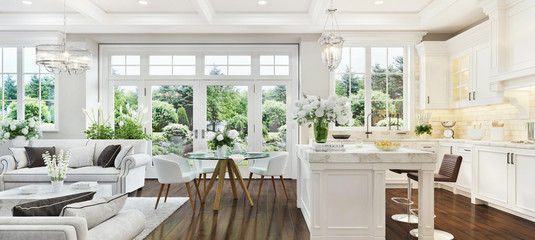 Luxury interior with white kitchen and living room