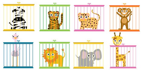 Zoo. Collection of wild animals in cages. Beasts behind bars. Bear and moose in captivity. Kangaroo and camel sit. Seal, walrus and Gorilla under control of person. Animal care.