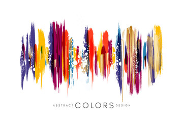 Colorful hand drawn decorative element from brush strocks. Abstract creative design from multicolored paint lines.