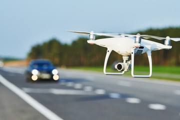 drone and transportation. drone with camera controls highway road conditions