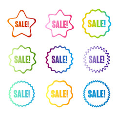 Rainbow badges with sale text. Vector label collection.