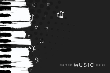 Obraz Piano concert poster. Music conceptual illustration. Abstract style black background with hand drawn piano keyboard and notes. - fototapety do salonu