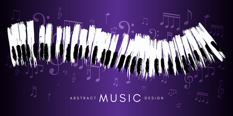 Piano concert poster. Music conceptual illustration. Abstract style violet background with hand drawn piano keyboard and notes.