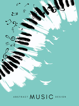 Piano concert poster. Music conceptual illustration. Abstract style blue background with hand drawn piano keyboard, notes and birds