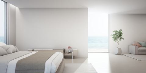 Wall Mural - Sea view living room and bedroom of luxury summer beach house with TV stand near double bed. Empty white concrete wall background in vacation home or holiday villa. Hotel interior 3d illustration.