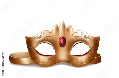101031f14 Vector 3d realistic Venetian face mask with red gem. Golden element ...