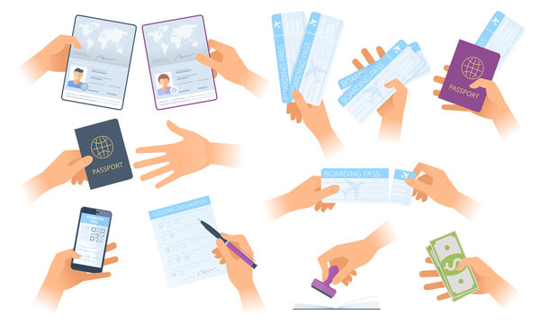 A situations in the airport and customs control zone. A hands holding passport, mobile boarding pass. A man writes customs declaration. Flat vector concept illustrations isolated on white background.