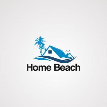 home beach logo vector with flying bird, icon, element, and template