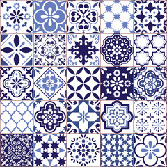 Portuguese vector Azulejo tile seamless pattern, Lisbon retro old tiles mosaic, Mediterranean repetitive navy blue textile design